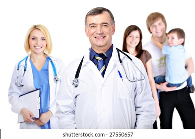 happy male doctor with young female nurse and the young family with the son