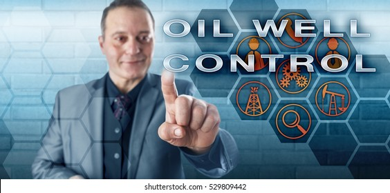 Happy male petroleum engineering manager with toothless smile is pushing OIL WELL CONTROL on an interactive virtual control screen monitor. Oil and gas industry metaphor and fossil fuels concept.