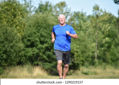 Happy Male Senior Grampa Jogging