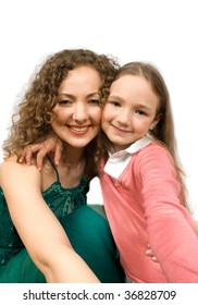 happy mam and daughter isolated on white with clipping path