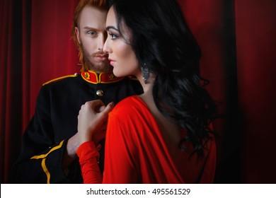 happy man admires his wonderful lady