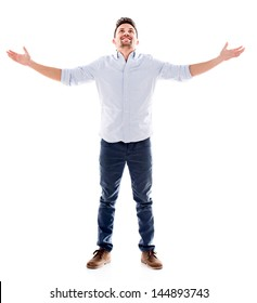 Happy man with arms open - isolated over a white background