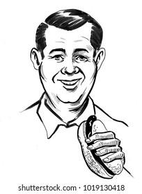 Happy man eating a hot dog. retro styled ink illustration