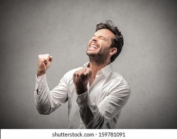 happy man exults