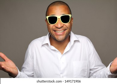 happy man in front of the camera