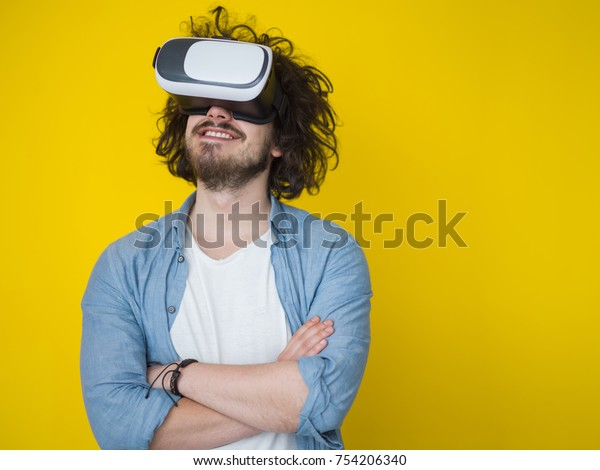 Happy Man Getting Experience Using Vr Stock Photo (Edit Now