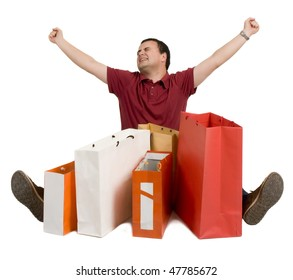 happy man with gift bags