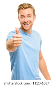 Happy man giving thumbs up sign - full length portrait on white background