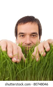 Happy man in green grass - environment concept, isolated