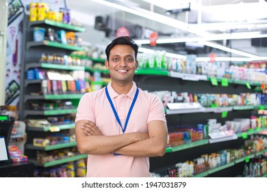 Happy man at grocery store