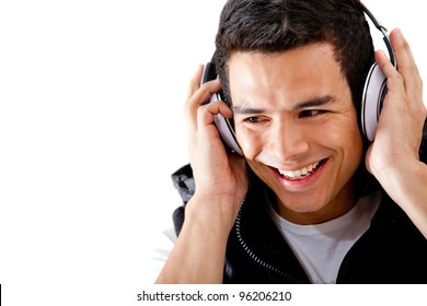 Happy man with headphones - isolated over a white background