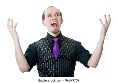 Happy man with his arms raised