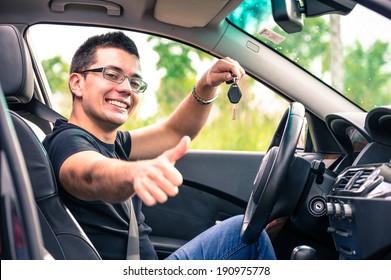 happy man in his car