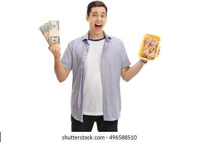 Happy man holding bundles of money and chicken drums isolated on white background