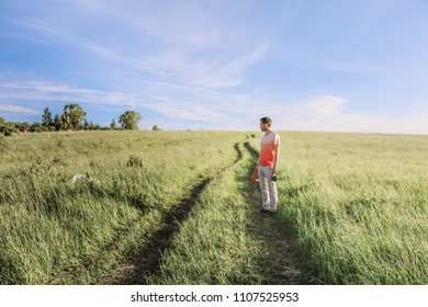 happy man holding his friend dog in the field, park