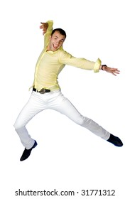 The happy man jumping on a white background
