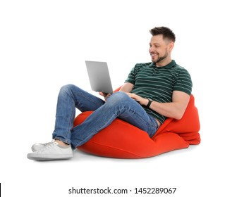 Happy man with laptop on white background