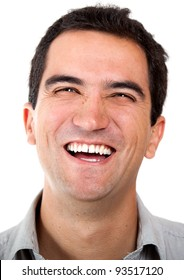Happy man laughing - isolated over a white background