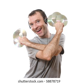 happy man listening music with cds in the hands