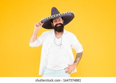 happy man in mexican sombrero hat. Mexican energetic temper.