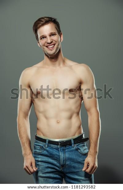 Portrait Sexy Muscular Shirtless Man Posing Stock Photo