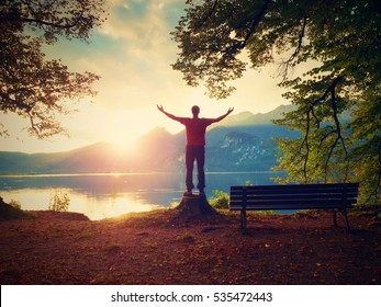 Happy man with raised arms in red t-shirt and black trousers stand on tree stump. Empty wooden bench at mountain lake. Bank under beeches tree, mountains at horizon and in water mirror