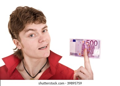 Happy  man in red  with money. Isolated.