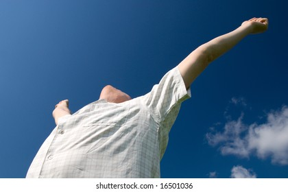 happy man rise his hands Its victory