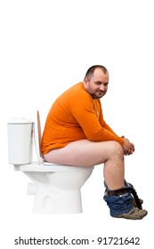 Happy man sitting on toilet. The image with path.