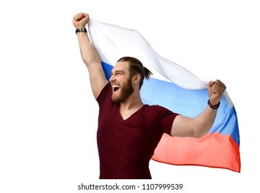 Happy man soccer fan with Russian flag  smiling celebrating isolated on white background