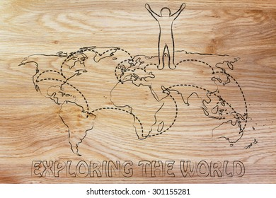 happy man standing on world map with travel itinerary, concept of exploring the world