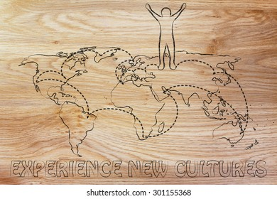 happy man standing on world map with travel itinerary, concept of experiencing new cultures