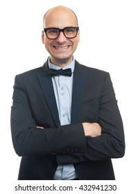 Happy man in suit and eyeglasses looking at camera with toothy smile. Isolated on white