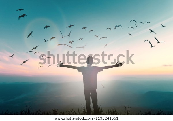 Happy man thinking felling ambitious empowerment energy vision on moutain background. Christian prayer love freedom worship praise God. Strength courage self confidence in good friday 2019 concept