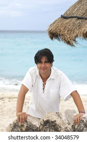 happy man in vacations in a cancun beach