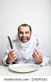 Happy Man waiting for lunch