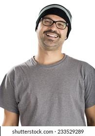 Happy Man Wearing Beanie