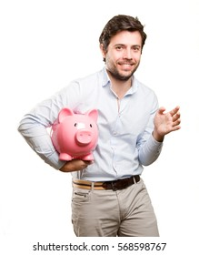 Happy man worried about his economy