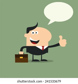 Happy Manager Giving Feedback In Modern Flat Design Raster Illustration With Speech Bubble