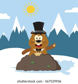 Happy Marmot Cartoon Mascot Character With Cylinder Hat Waving In Groundhog Day. Raster Illustration Flat Design With Background
