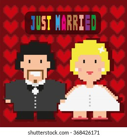 Happy Married couple frame. Pixelated groom and bride digital background raster illustration.