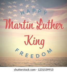 happy Martin Luther King freedom against composite image of digitally generated american flag rippling