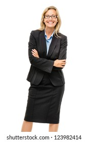 Happy mature business woman arms folded isolated on white background