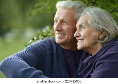 Happy Mature couple dancing in the park in summer day