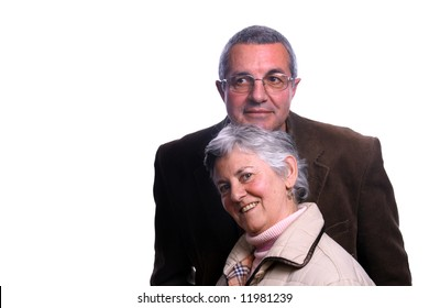 happy mature couple over white background