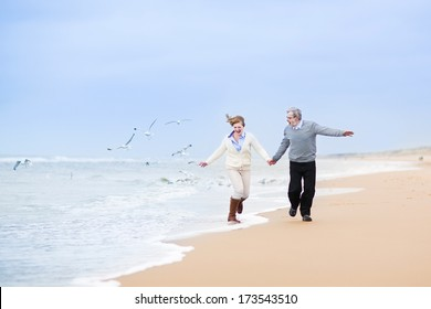 Happy mature couple running at a beautiful winter beach with seagulls