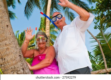 Happy mature couple smiling and waving in the shade of palm trees on the beach. They are wearing snorkeling gear and in the background is the blue sky with palms.