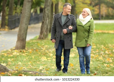 Happy mature couple walking in park