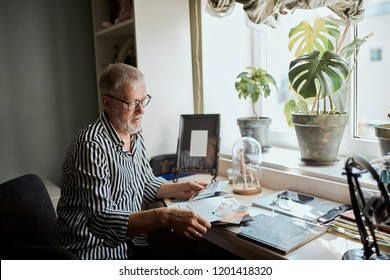 happy mature man looking his old wedding photos while sitting in home