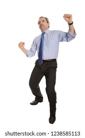 happy mature man with wide open arms, winning, isolated on white